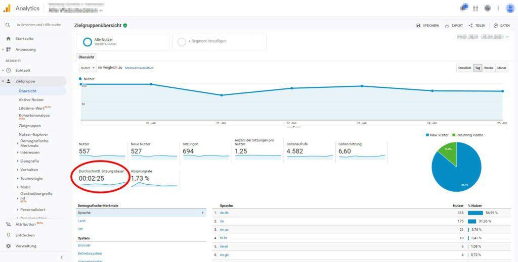 Google Analytics Verweildauer